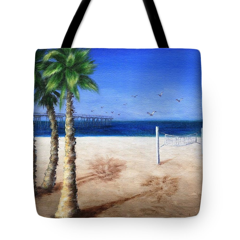 Palm Tote Bag featuring the painting Hermosa Beach Pier by Jamie Frier