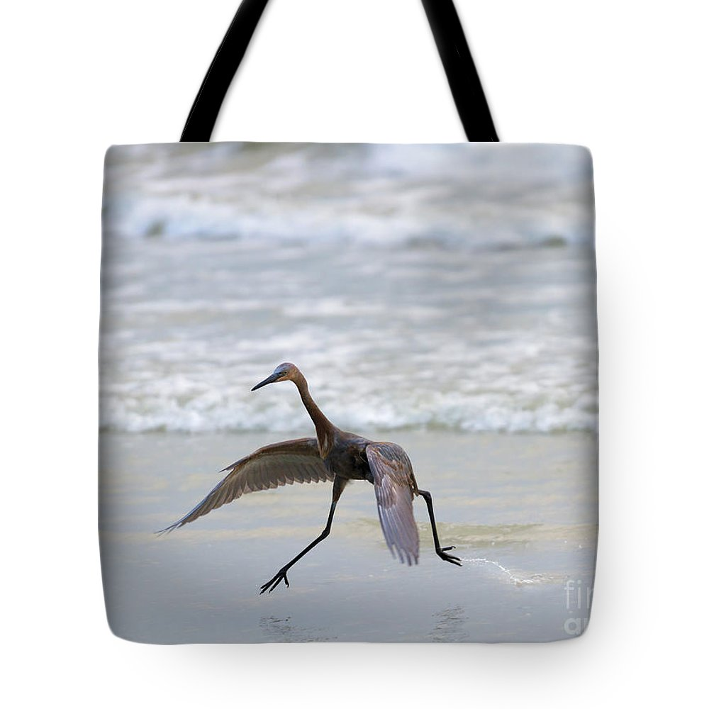 Heron Tote Bag featuring the photograph Heron Ballet by Mike Dawson