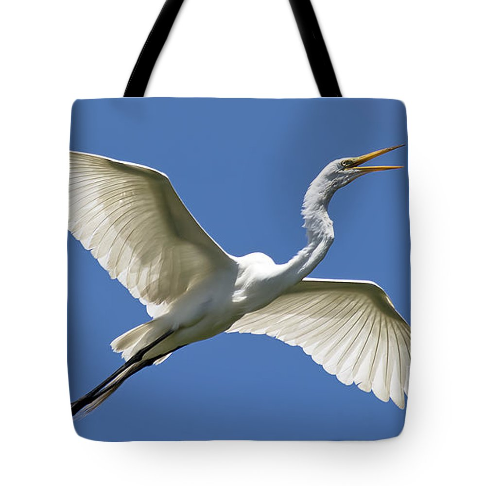 Wildlife Tote Bag featuring the photograph Heron Flight by Kenneth Albin