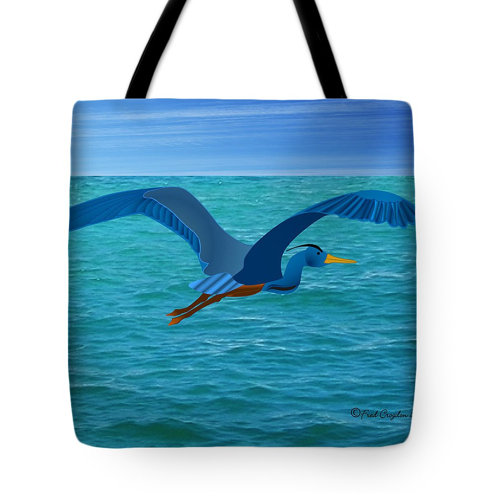 Haida Point Art Tote Bag featuring the drawing Heron Flying Over Ocean by Fred Croydon