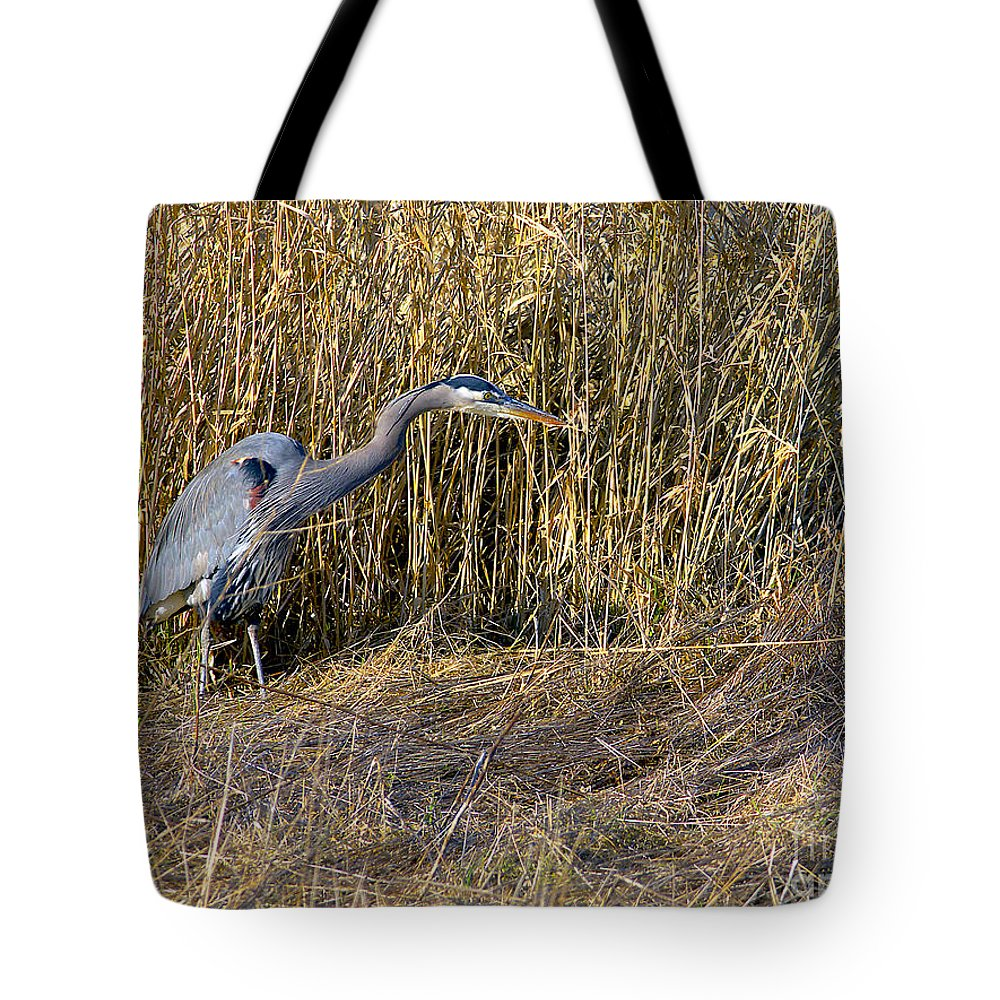 Great Blue Heron Tote Bag featuring the photograph Heron In The Grass by Sharon Talson
