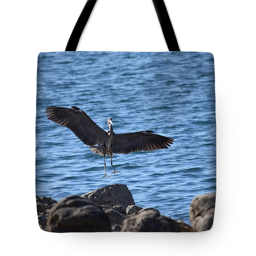 Great Blue Heron Tote Bag featuring the photograph Heron Landing by Eric Johansen
