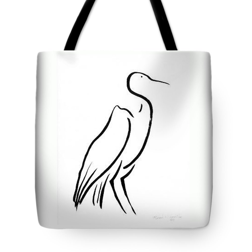 Calligraphy Tote Bag featuring the drawing Heron by Micah Guenther