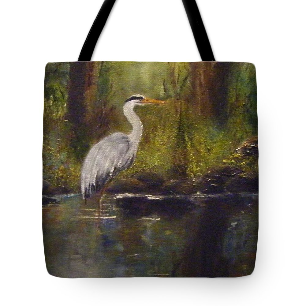 Heron Tote Bag featuring the painting Herons Rest by Donna McGee
