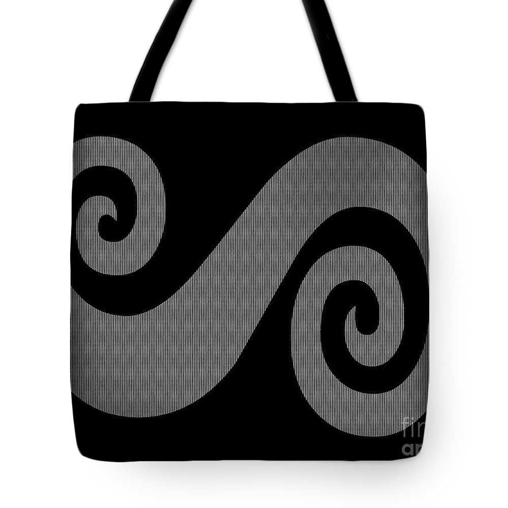 Herringbone Swirl On Black Tote Bag featuring the digital art Herringbone Swirl On Black by Barbara Griffin