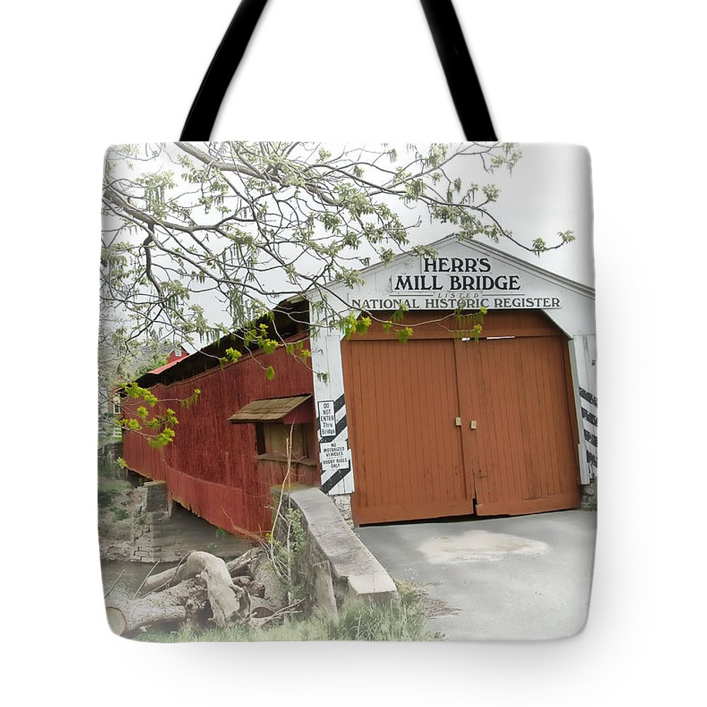 Covered Bridges Tote Bag featuring the photograph Herr's Mill Historic Bridge by Dyle  Warren