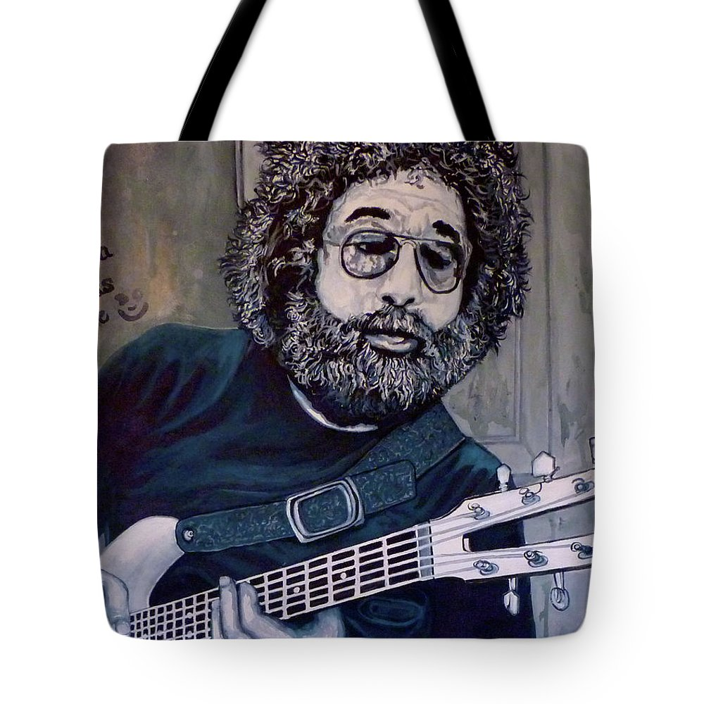 Jerry Tote Bag featuring the painting Hey Now - Blue Jerry by Tom Roderick