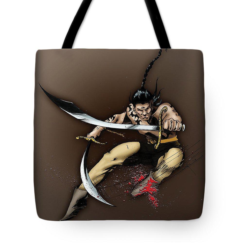 Usherwood Tote Bag featuring the digital art Hhu'manni Warrior by James Kramer