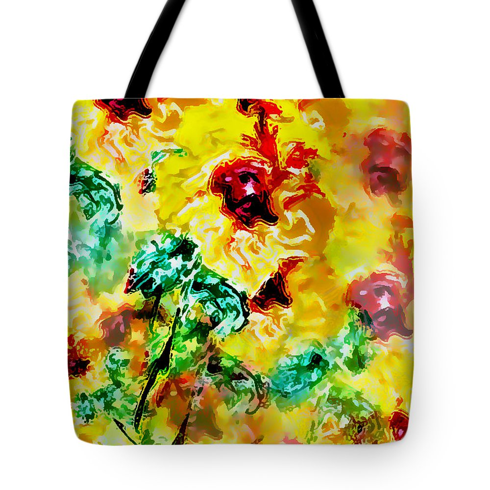 Flowers Tote Bag featuring the digital art Hibiscus Impressionist by William Braddock