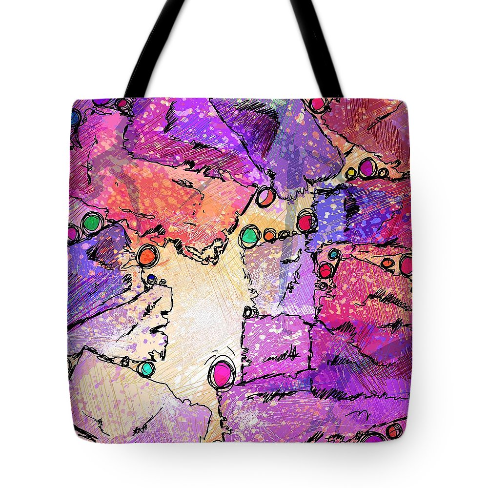 Abstract Tote Bag featuring the digital art Hide And Seek by Rachel Christine Nowicki
