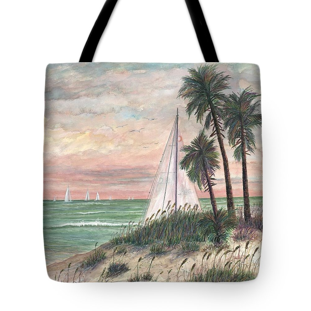 Sailboats; Palm Trees; Ocean; Beach; Sunset Tote Bag featuring the painting Hideaway by Ben Kiger