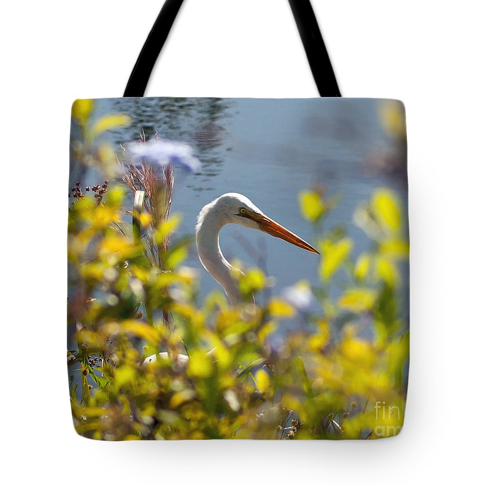 Hidden Tote Bag featuring the photograph Hiding Egret by Stephen Whalen