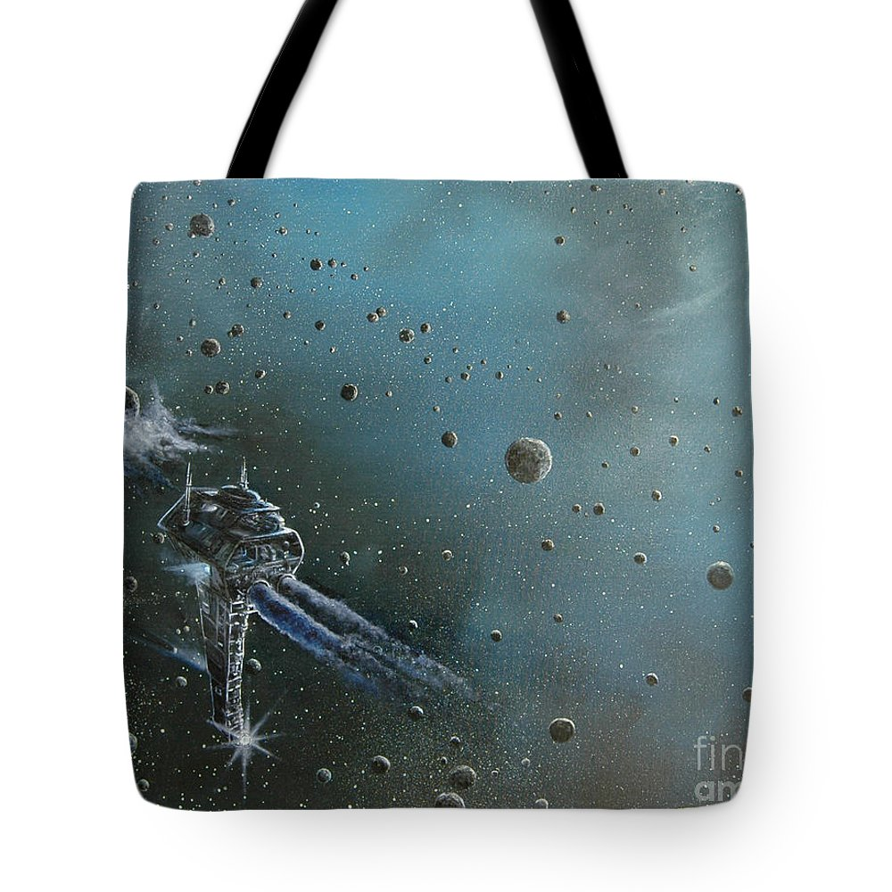 Astro Tote Bag featuring the painting Hiding In The Field by Murphy Elliott
