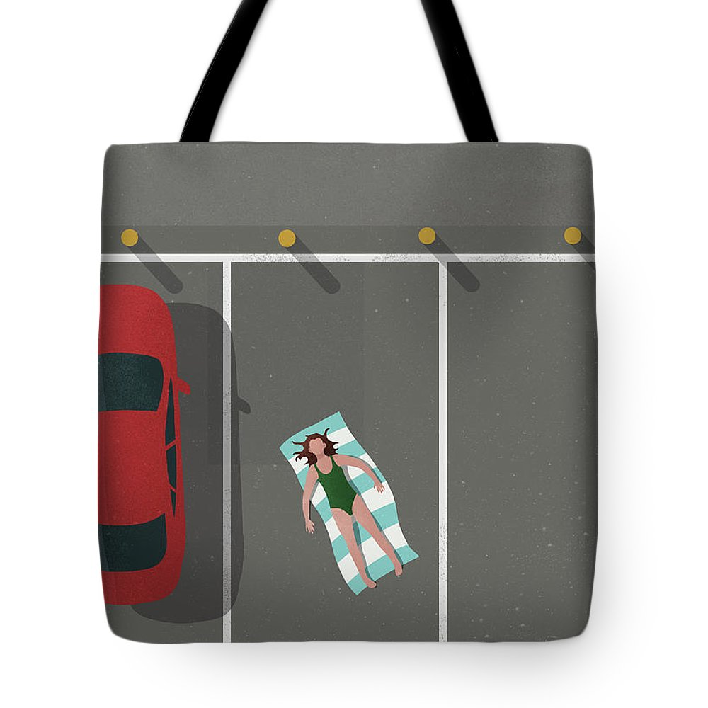 Shadow Tote Bag featuring the digital art High Angle View Of Woman Sunbathing By by Malte Mueller