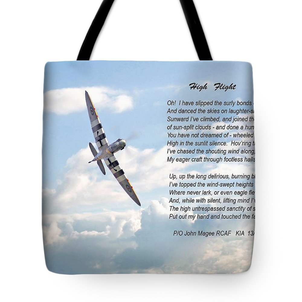 Aircraft Tote Bag featuring the digital art High Flight by Pat Speirs