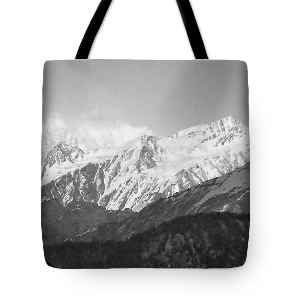 Mountain Tote Bag featuring the photograph High Himalayas - Black And White by Kim Bemis