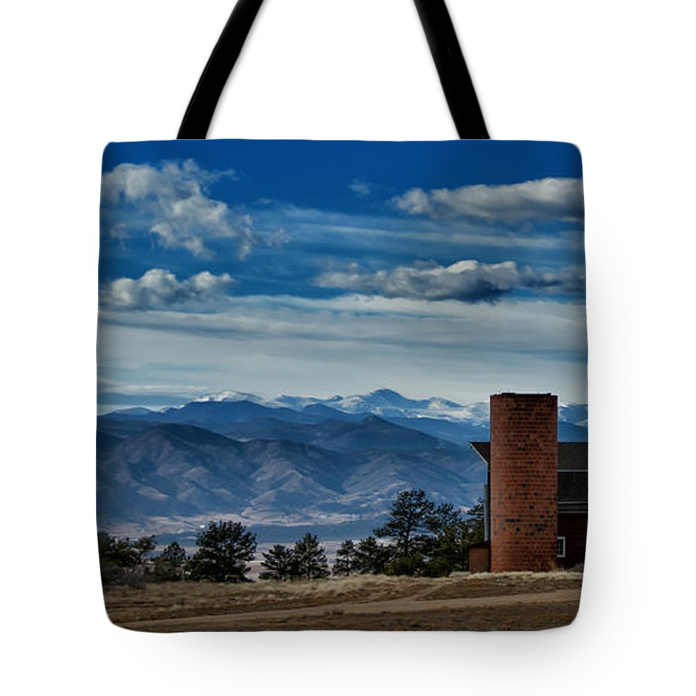 Red Tote Bag featuring the photograph High Mountain Barn by Bob Keller