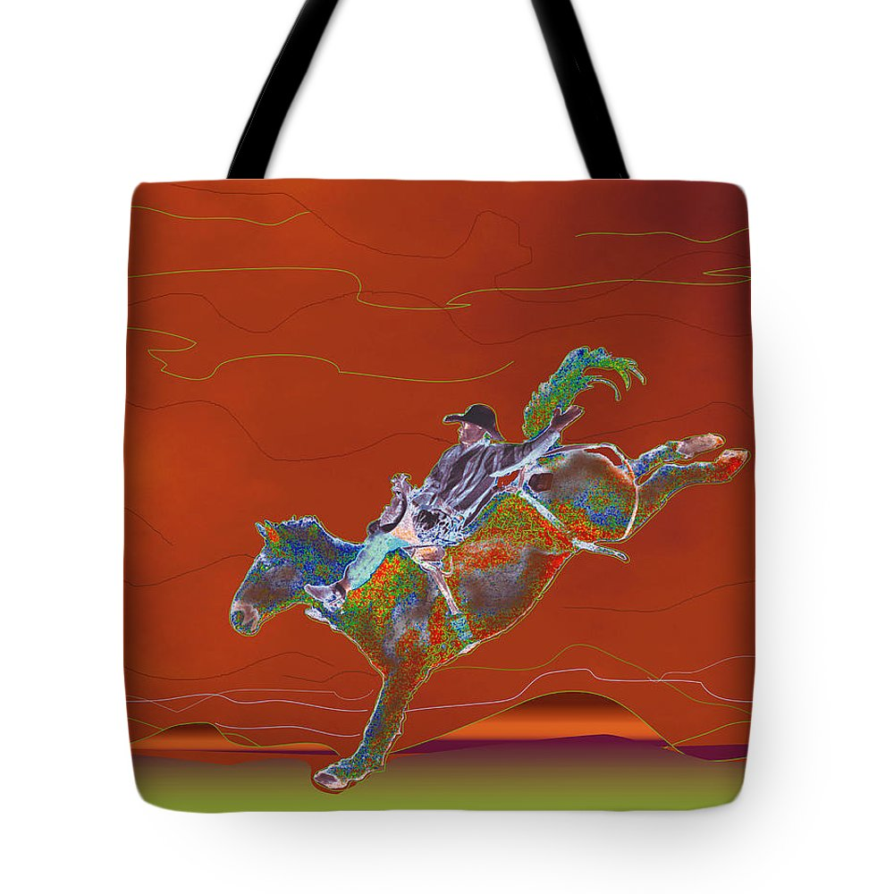 Rodeo Rider Tote Bag featuring the digital art High Riding by Kae Cheatham