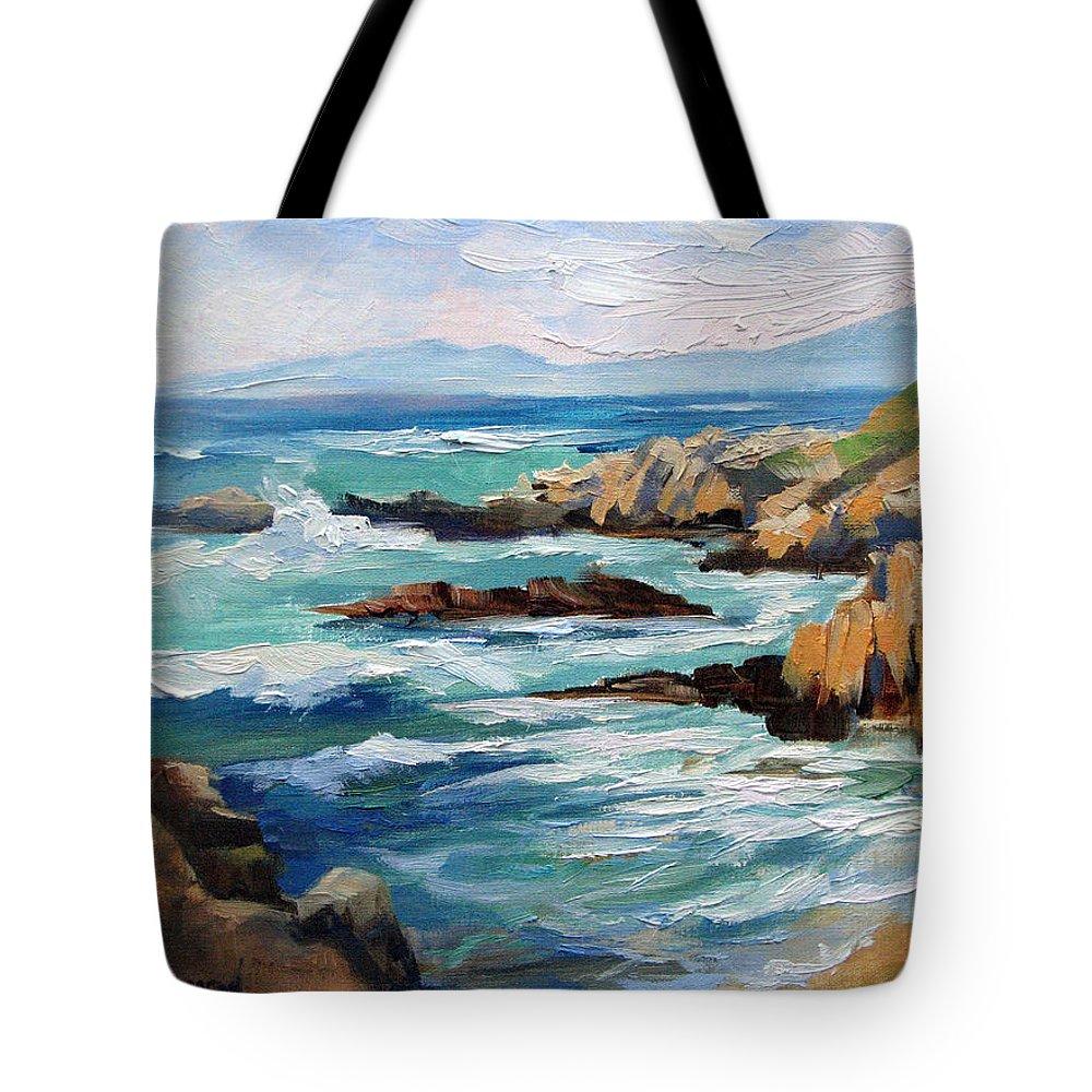 Asilomar Beach Tote Bag featuring the painting High Surf Asilomar Beach by Karin Leonard