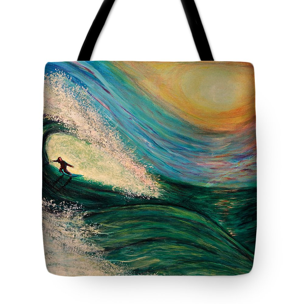 'phoenix Tote Bag featuring the painting High Surf by Phoenix The Moody Artist
