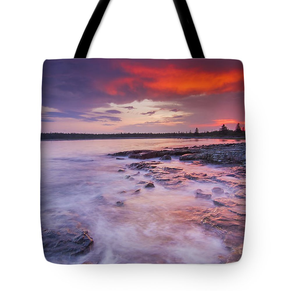 Purple Tote Bag featuring the photograph High Tide by Mircea Costina Photography
