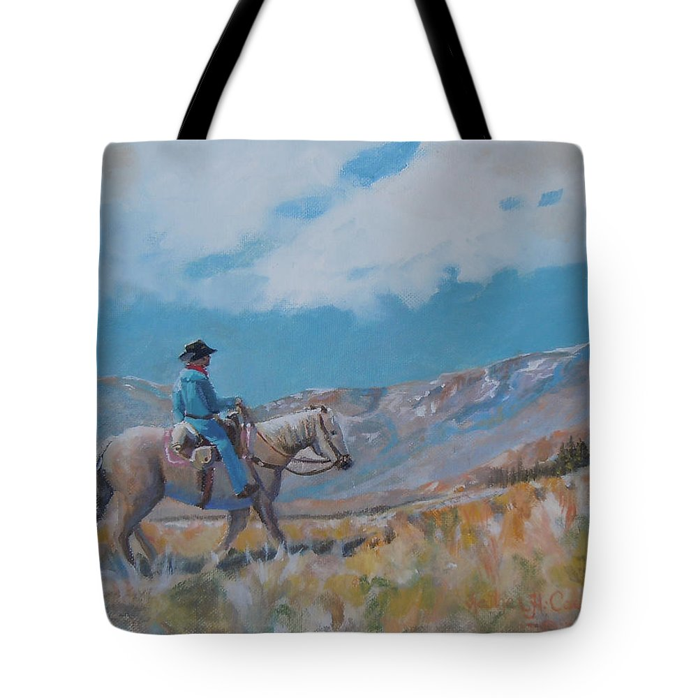 Cowboy Tote Bag featuring the photograph High Trails by Heather Coen