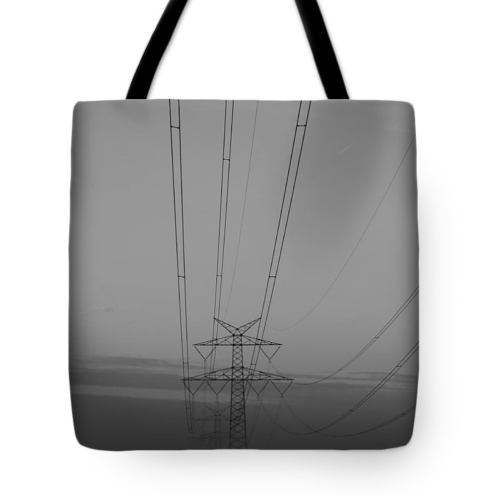 High Voltage Landscape Mist Misty Fog Morning Bw Black White Photgraph Art Tote Bag featuring the photograph High Voltage by Steve K