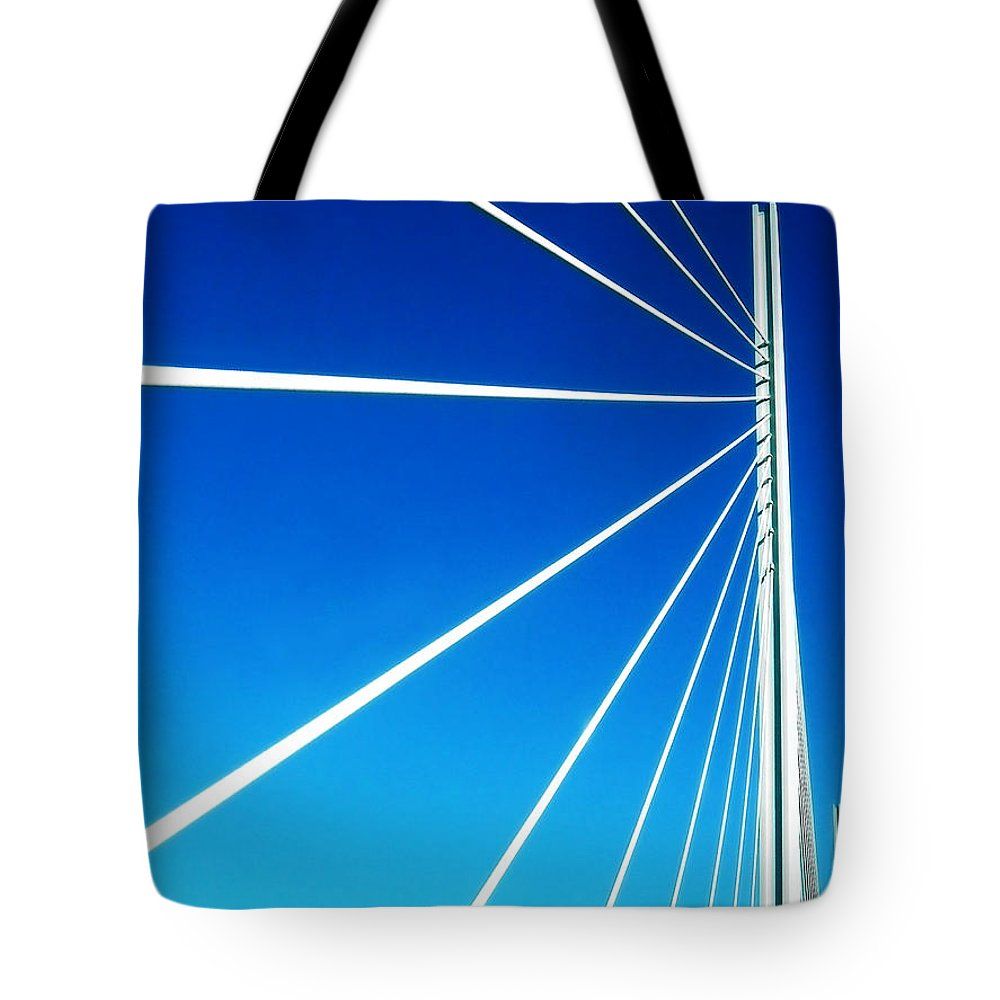 Blue Tote Bag featuring the digital art High Wire by Russ Murry
