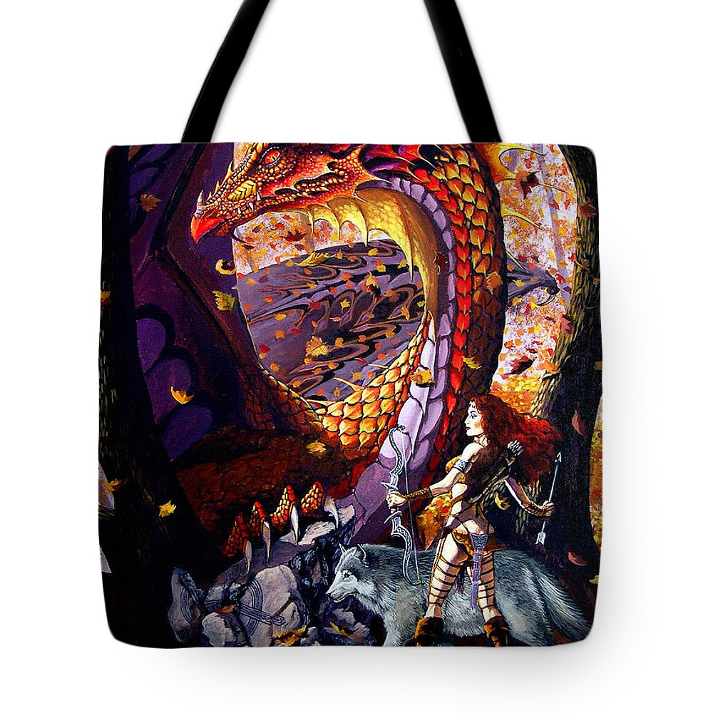 Dragon Tote Bag featuring the painting Highland Huntress by Stanley Morrison