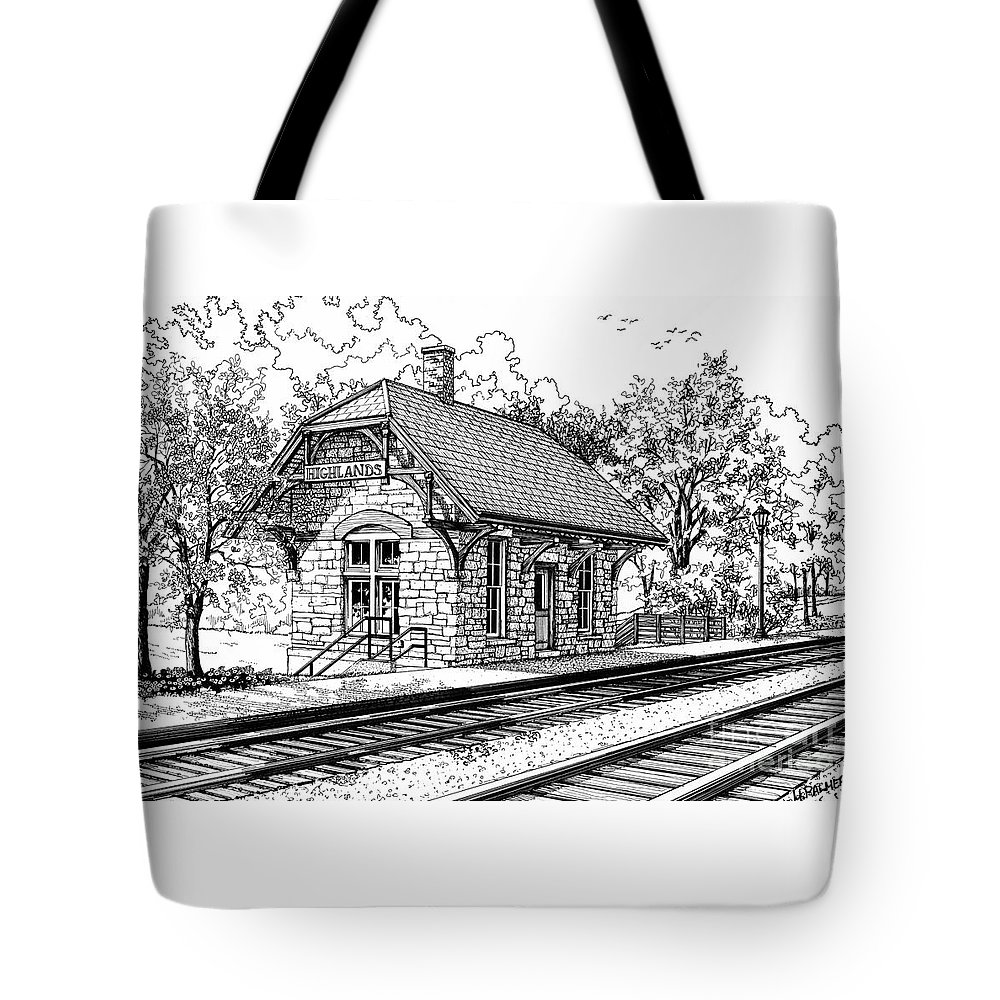 Train Tote Bag featuring the drawing Highlands Train Station by Mary Palmer