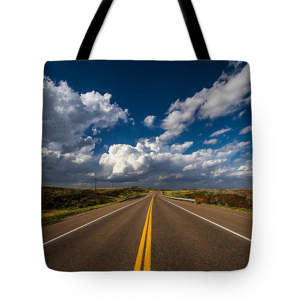 Oklahoma Tote Bag featuring the photograph Highway Life - Blue Sky Down The Road In Oklahoma by Sean Ramsey