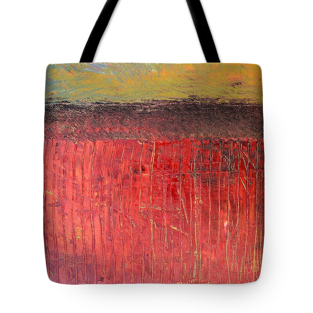 Abstract Expressionism Tote Bag featuring the painting Highway Series - Cranberry Bog by Michelle Calkins
