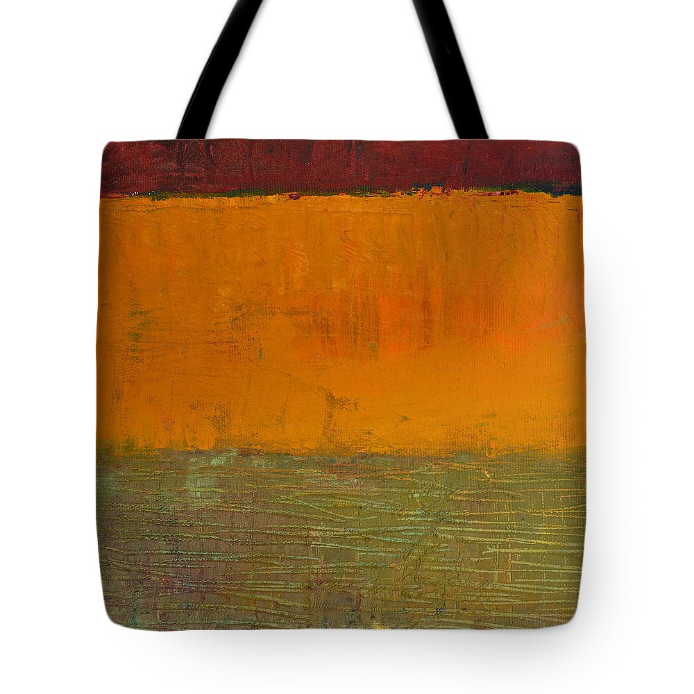 Abstract Expressionism Tote Bag featuring the painting Highway Series - Grasses by Michelle Calkins