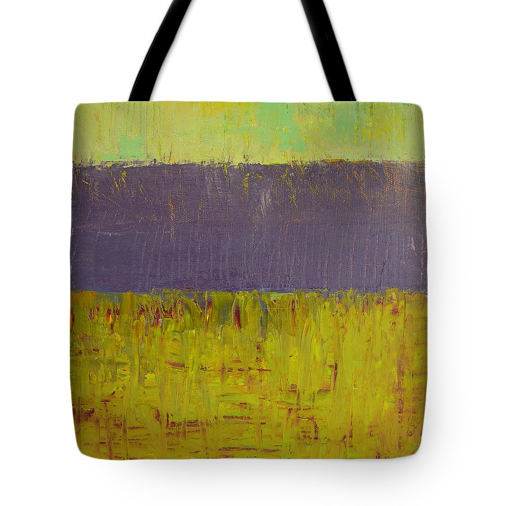 Abstract Expressionism Tote Bag featuring the painting Highway Series - Lake by Michelle Calkins