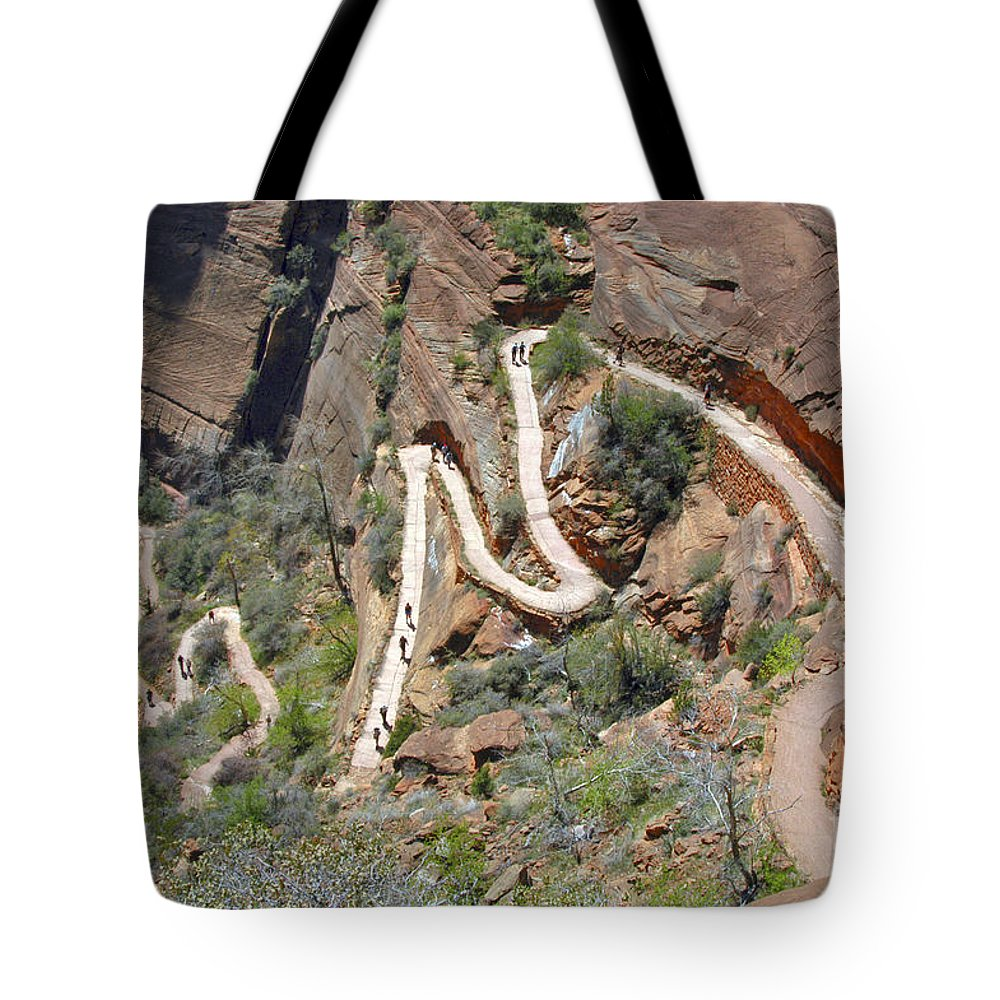 Angels Landing Trail Zion National Park Utah Mountain Mountains Tree Trees Winding Trails Curve Curves Landscape Landscapes Tote Bag featuring the photograph Highway To Heaven by Bob Phillips