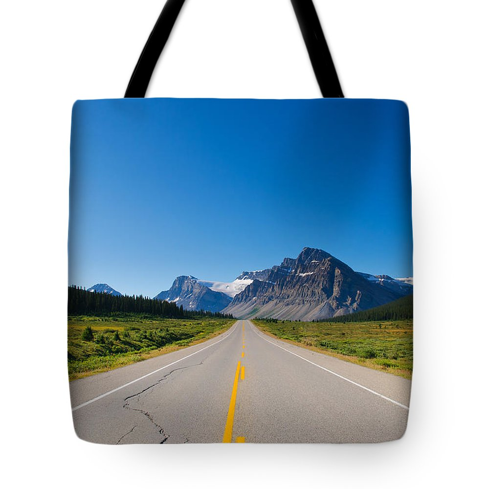 Alberta Tote Bag featuring the photograph Highway To The Mountains by Brandon Smith