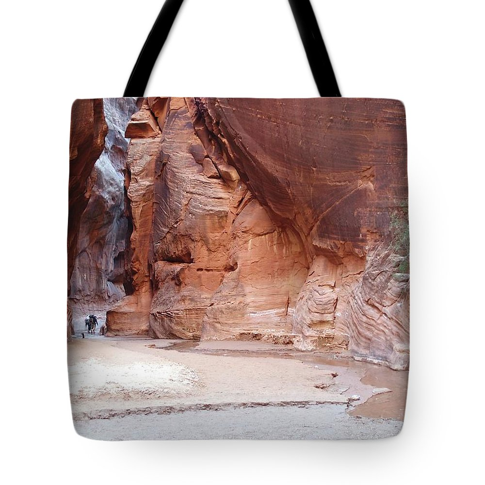 Tranquility Tote Bag featuring the photograph Hikers Entering Buckskin Gulch From by Photograph By Michael Schwab