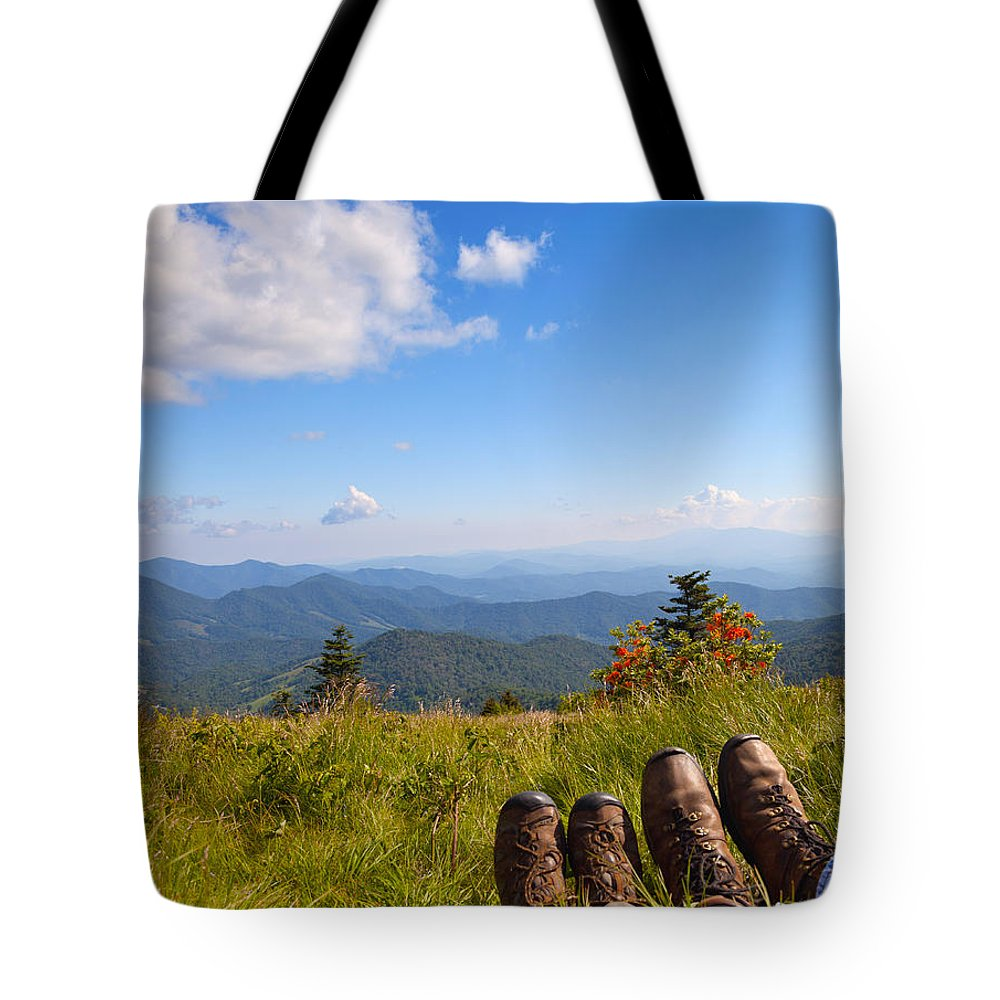 Hikers Tote Bag featuring the photograph Hikers With A View On Round Bald Near Roan Mountain by Melinda Fawver