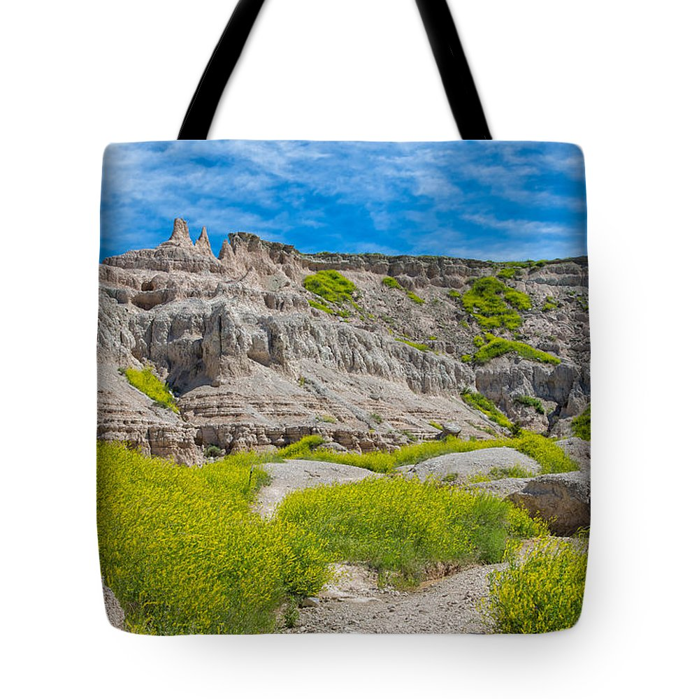 Landscape Tote Bag featuring the photograph Hiking In The Badlands by John M Bailey