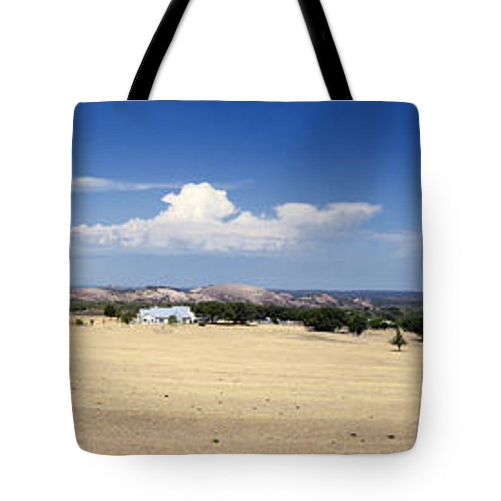 Hill Country Tote Bag featuring the photograph Hill Country And Enchanted Rock Panorama by Greg Reed