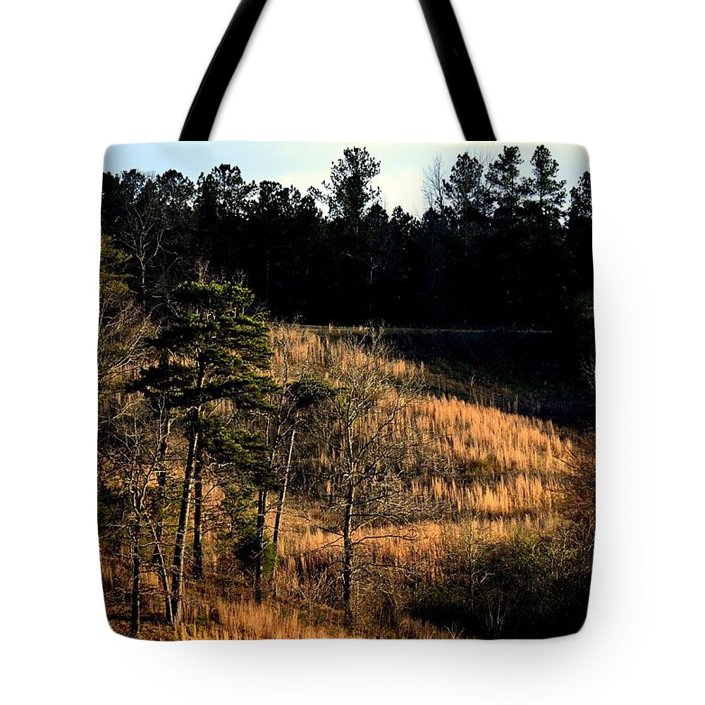 Hill Of Gold Tote Bag featuring the photograph Hill Of Gold by Maria Urso