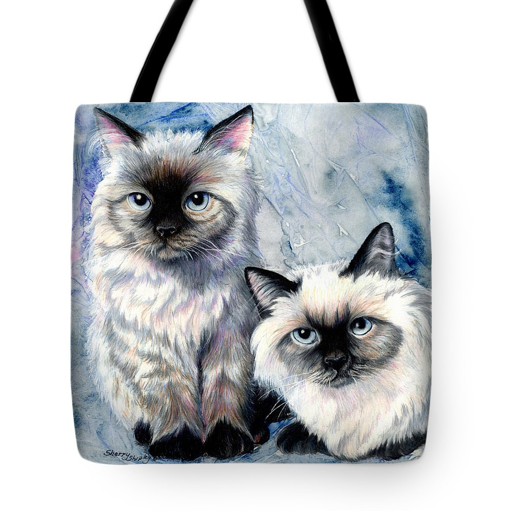Cat Tote Bag featuring the painting Himalayan Duo by Sherry Shipley