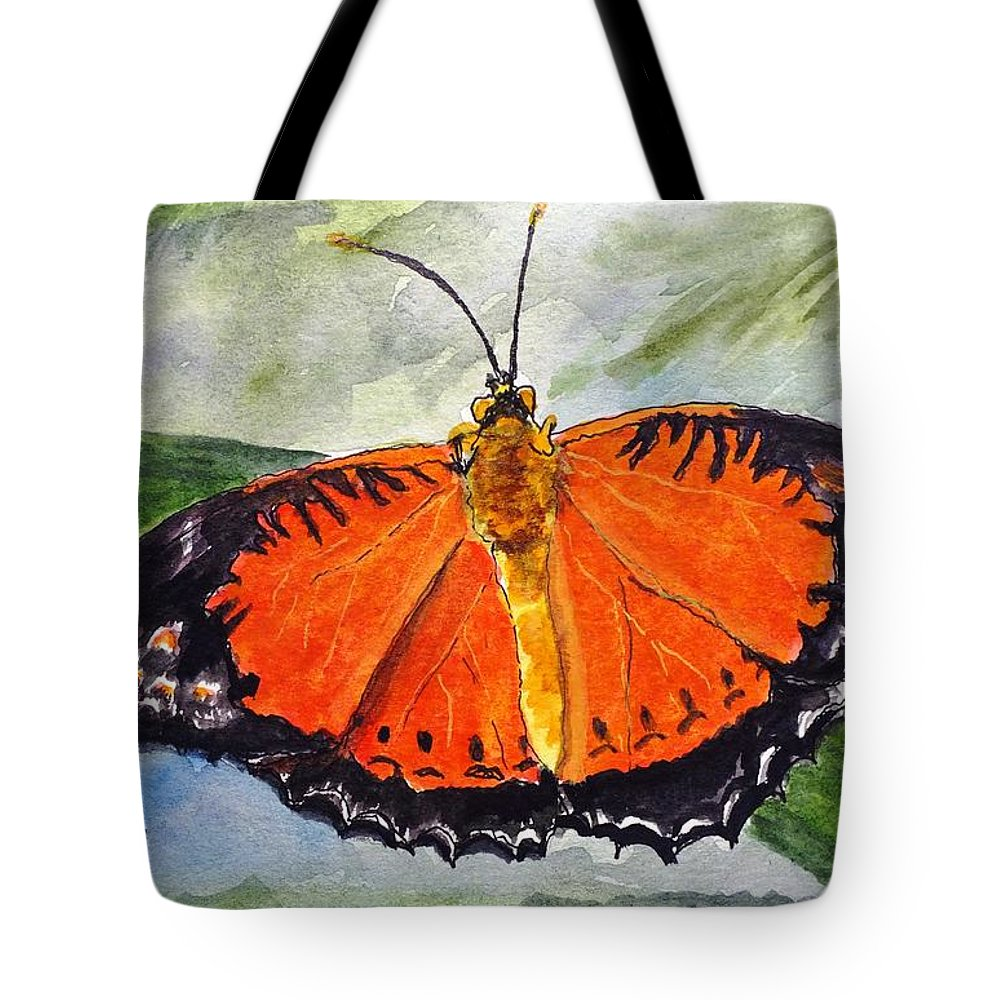 Nature Tote Bag featuring the painting Himalayan Red Lacewing by Peggy King