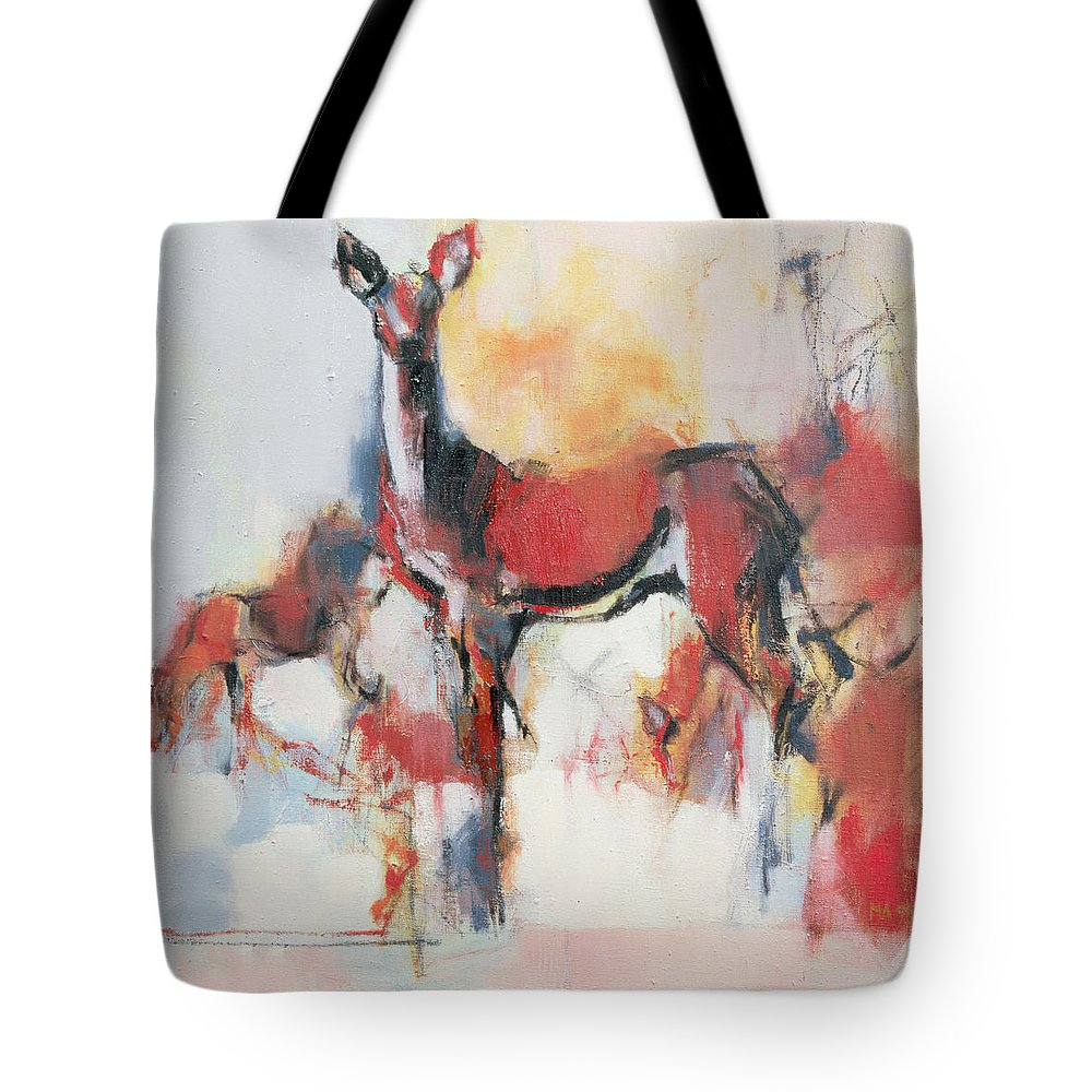 Female Deer Tote Bag featuring the painting Hinds In Winter by Mark Adlington