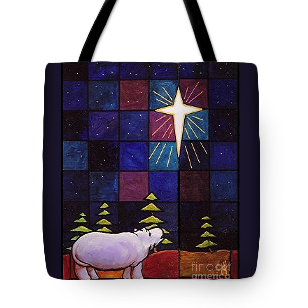 Christmas Tote Bag featuring the painting Hippo Awe And Wonder by Jim Harris