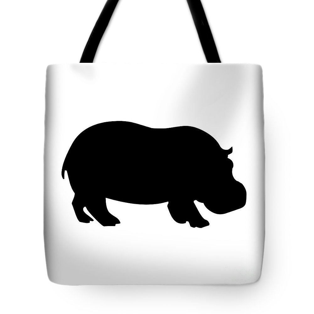Graphic Art Tote Bag featuring the digital art Hippo In Black And White by Jackie Farnsworth