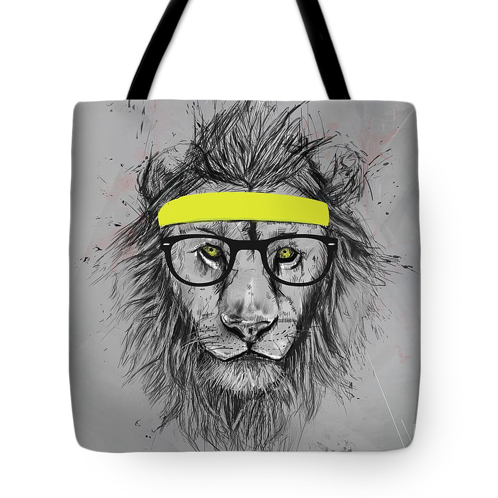 Lion Tote Bag featuring the drawing Hipster Lion by Balazs Solti