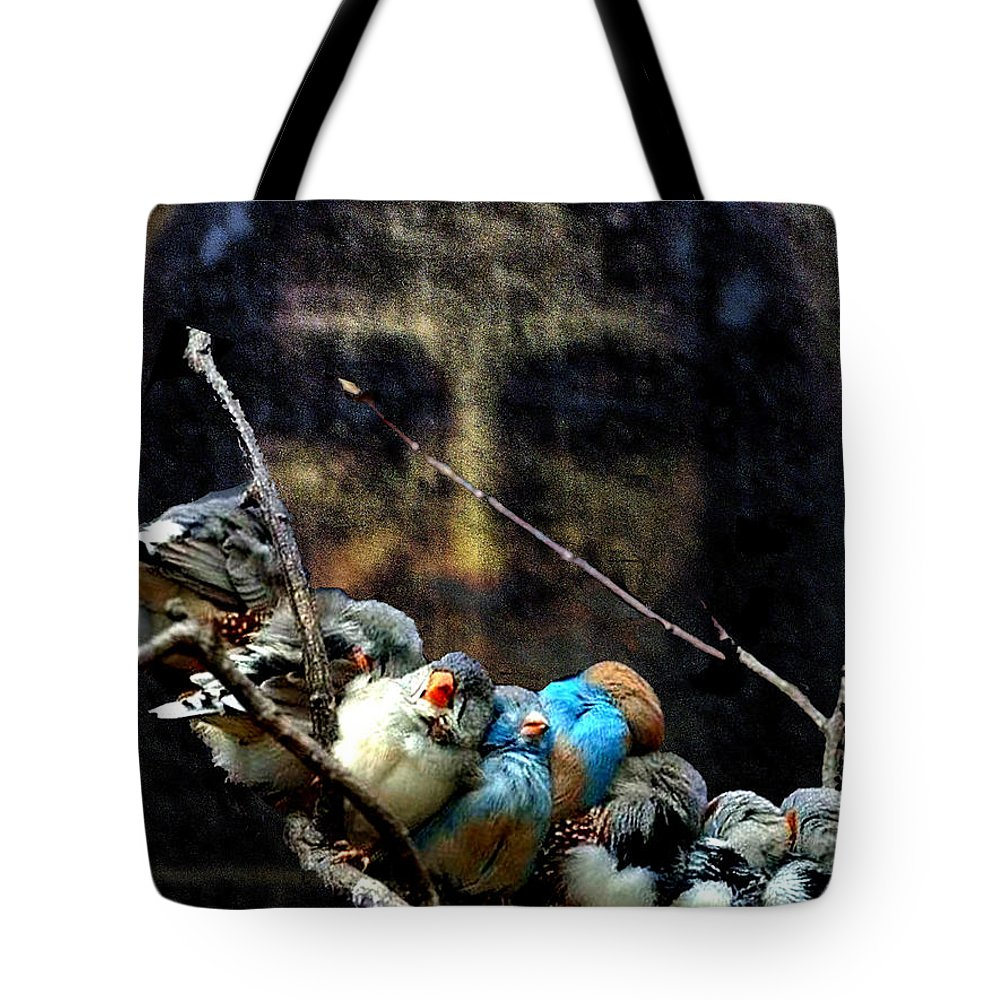 His Eye Is On The Sparrow Tote Bag featuring the digital art His Eye Is On The Sparrow by Seth Weaver