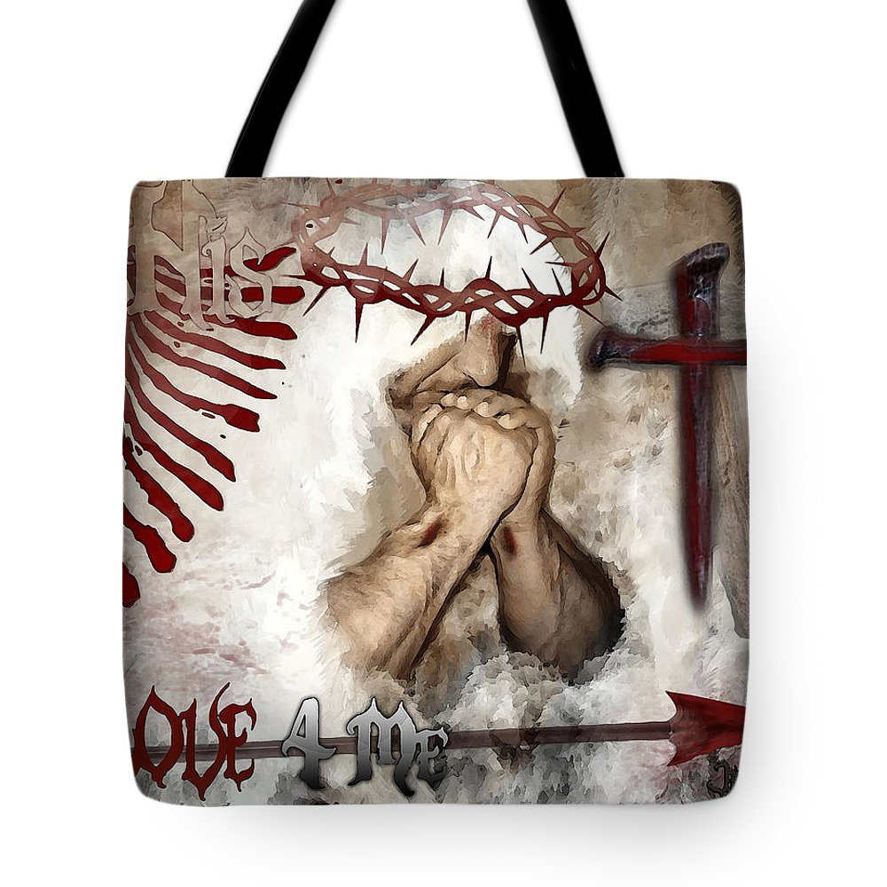 His Love 4 Me Tote Bag featuring the digital art His Love 4 Me by Jennifer Page
