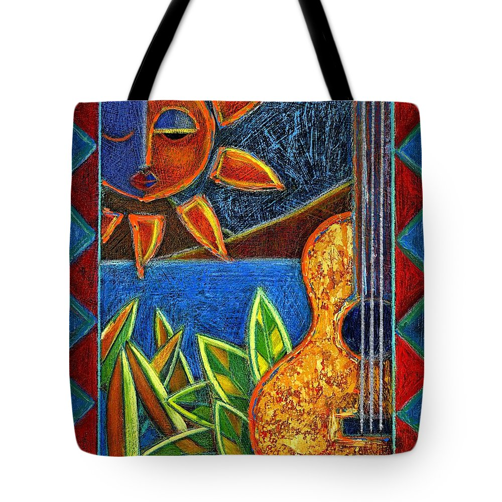 Guitar Tote Bag featuring the painting Hispanic Heritage by Oscar Ortiz